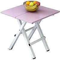 Yuan Table Portátil pequeño Plegable - Mesa de Comedor Cocina Acampar - Plegable Cuadrado de Madera - Escritorio de la computadora - Mesa de Centro - con Patas de Metal sin instalación/Desk