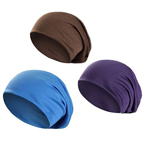 Wirezoll Wirezoll Winter Leicht und Weich Slouch Beanie Mütze für Damen, Herren, Jungen und Mädchen, Blau + Braun + Lila, Einheitsgröße