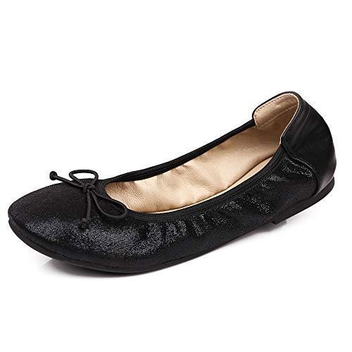 Sydowey - Zapatos de Ballet para Mujer con Bolsa de Transporte, Color Negro, Talla 37 EU