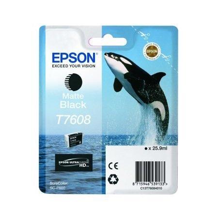 1x Cartouche d'encre d'origine pour EPSON SureColor P 600t7608T 7608C13T76084010–Tapis noir–Contenance: env. 25,9ml