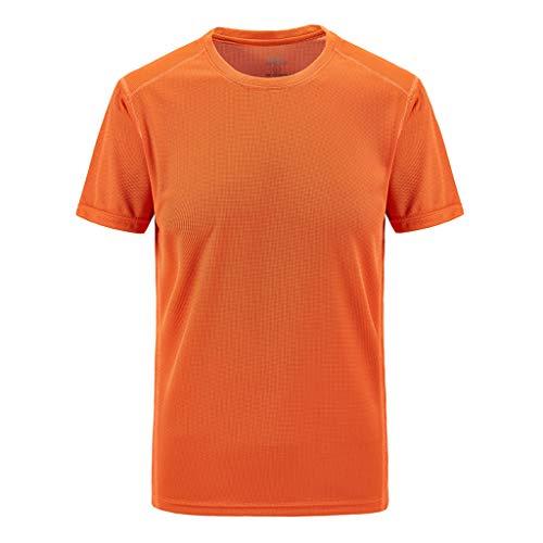 LAsimi Herren Hemd Herren Sommer LäSsiges Outdoor-T-Shirt In ÜBergrößEn Mit Schnell Trocknenden Atmungsaktiven Tops(XXXXX-Large,Orange)
