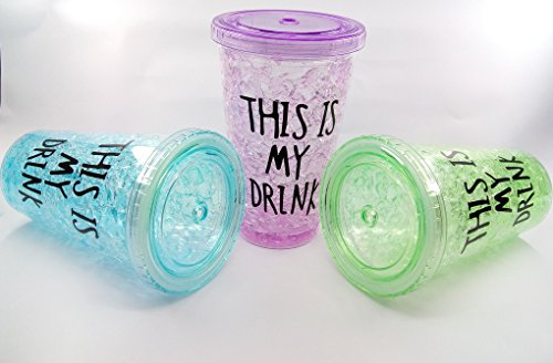 Attractive Acrylic Frosty Mason jar with straw and lid Freezing Gel for Juice, Beer, Soft Drinks, Water, Assorted Color capacity 400 ml1pcs random clr BIRTHDAY GIFTING / FRIENDSHIP DAY GIFTING