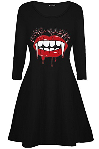 Be Jealous Damen Halloween Kostüm Fang-tastic blutig Vampir Mund Damen Swing Minikleid UK Plus Größe 8-26 - Schwarz, S/M (UK 8/10) (Vampir Kostüm Plus Größe)