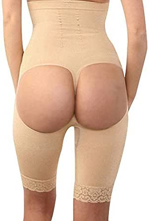 Cfanny - Damen Sexy Ausgeschnitten Spitzensaum Po-Heber Miederslip - L, Aprikose