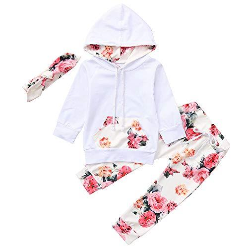 Kobay Infant Baby Mädchen Langarm Kapuzenoberteile + Blumendruck Hosen + Stirnband 3 Stücke Outfits Set(18-24M,Weiß)