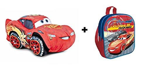 Cars 3 - Pack peluche Rayo McQueen 25 cm (Famosa 760015270) + Mochila 29cm