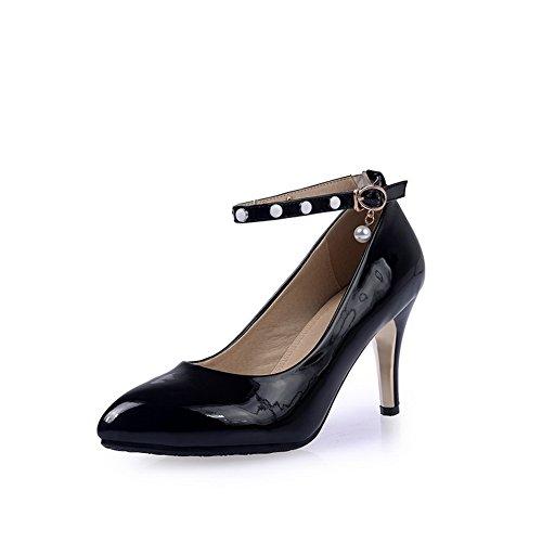 balamasa Femme Boucle High-Heels pointed-toe pumps-shoes en caoutchouc solide Noir