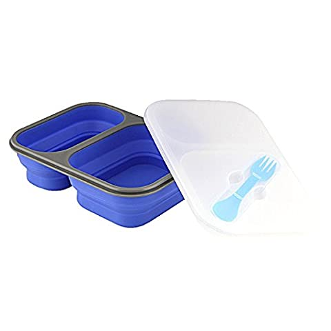 Trekmates Lexngo Lunch Box - folding food box, storage container made from silicone with lid, microwave and dishwasher-proof