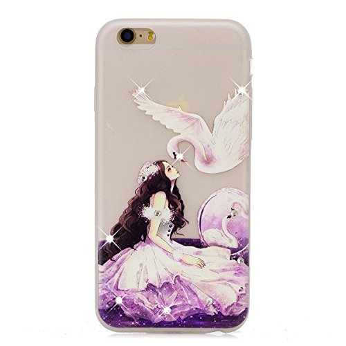 Coque iPhone 6 Plus Glitter, iPhone 6S Plus Coque Brillante, SainCat Ultra Slim Transparent TPU Case pour iPhone 6/6S Plus, Glitter Bling Diamante Strass Brillante Anti-Scratch Gel Housse Transparent  le cygne et la princesse
