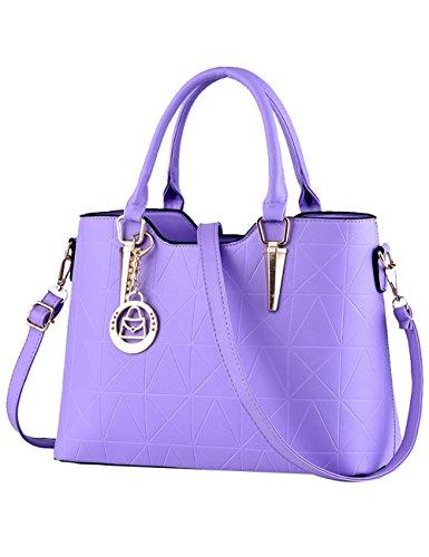 Menschwear Damen PU Handtaschen Damen Handtasche Schwarz Handtasche Schule Damen Handtaschen Lila