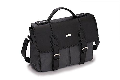Solier Leder Herren Schulter Laptop Tasche Premium LANARK S14 Schwarz / Grau