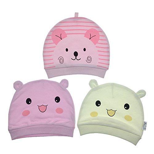 Cappello bambino unisex 3 pezzi neonato berretto di cotone - tyidalin cappello ragazzo ragazza copricapo calotta a strisce beanie regalo di compleanno per 0-6 mesi bambina bambine