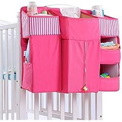 Organizador de Pañales, Sunzit Bebé Organizador Multifunción para Colgar en la Mesita de Noche Bolsa de Almacenamiento - Rosa caliente
