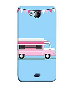 Micromax Bolt Q338 Back Cover Pink Ice Cream Van Design From FUSON