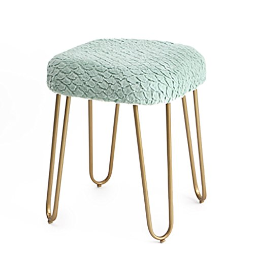 WY Nordic Schmiedeeisen Nagel Shop Casual goldenen Kaffee Stuhl Make-up Hocker weiche Tasche Plüsch Sofa Bank Hause 40 * 40 * 50 cm Möbel (Farbe : B) -