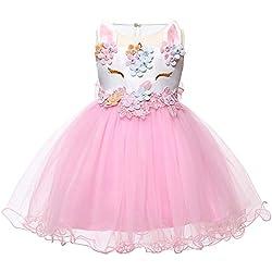 LZH Bebé Niña Disfraz de Unicornio Vestido de Princesa Tutu Disfraces de Cumpleaños Vestido del Arco Iris