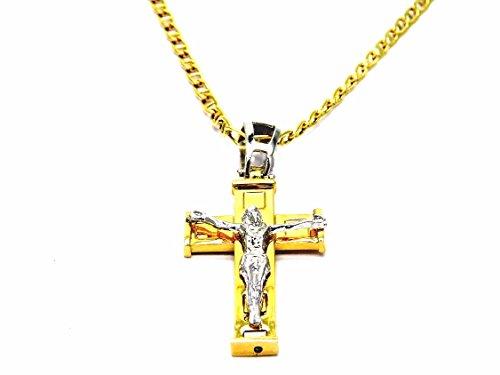 Kette gold gelb 18kt Knebel mit Anhänger Kreuz Jesus bicolor-Kette Herren Damen cm 50 ()