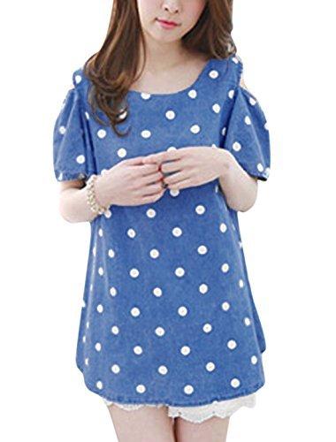 Woman Polka Dots Prints Scoop Neck Cut Out Shoulder Denim Tunic Top