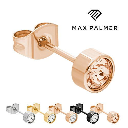Max Palmer Kristall Ohrstecker mit Swarovski Kristall - [19.] Stecker: Rosegold | Kristall: pfirsich | Kristall: 5mm
