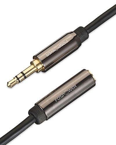 FosPower Stereo Audio Klinken Kabel Adapter Verlängerungskabel (0,9m) Verlängerung für AUX Eingänge 3.5mm Stecker auf 3,5 mm Buchse [Vergoldete Kontakte] für Audio iPhone, iPod, iPad, MP3-Player, Kopfhörer, Lautsprecher, Android Smartphones, Tablets - Schwarz - 6