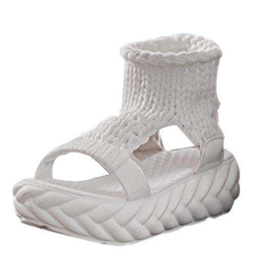 FNKDOR Damen Sandalen Plateau Schuhe Gestrickte Damenschuhe Sandaletten(36,Weiß)