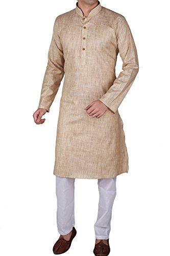 Vastramay Men's Cotton Beige Kurta & White Pyjama Set (Color: Beige &...