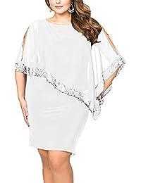 Vestiti Donna Ragazza Invernali di Moda in Pizzo Giuntura Chiffon delle  Abiti Cerimonia Rotondo Collo Corti 2930cb83935