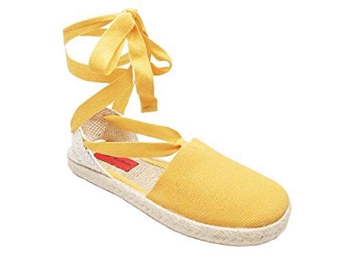AM415 - Andres Machado - Leinen Sandaletten mit Jute im Tarnmuster. Gr. 32 Gelb Leinen