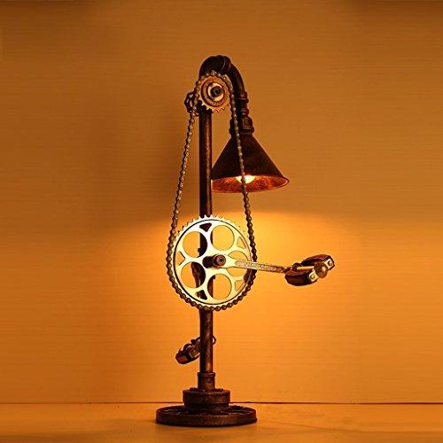 E27 Retro Schreibtisch Lichter tun die alte Farbe Lampenschirm Hochwertige Eisen Kunst Chassis Simulation Fahrrad Pedal 110-240 Volt Spannung Schlafzimmer Bett Metall Kette Wasser Rohr Tisch Lampe high54cm
