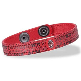 DIVASPORT Armband PU-Leder rot mit Muster A.C. Milan Offizielles Produkt