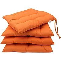 ZOLLNER 4 Cómodos Cojines para Silla, Naranja, en Varios Colores, 40x40 cm, para Exterior e Interior, Serie Mali