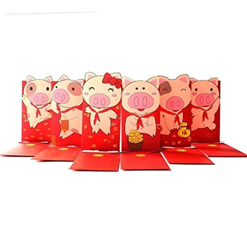 YA-Uzeun 2019 New Year's Pig Year Cartoon Red Packets Hong Bao Lucky Money Bags