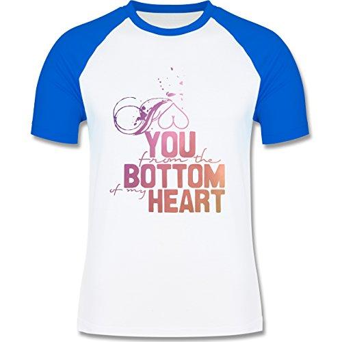 Statement Shirts - I love you from the bottom of my heart - zweifarbiges Baseballshirt für Männer Weiß/Royalblau