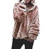 Manga Larga Peluche Mullido Suéter de Las Mujeres EUZeo Invierno Extragrande Camisa Color sólido Blusas Otoño Atractivo Camisa Casual Sudadera con Capucha Pullover Suave Tops