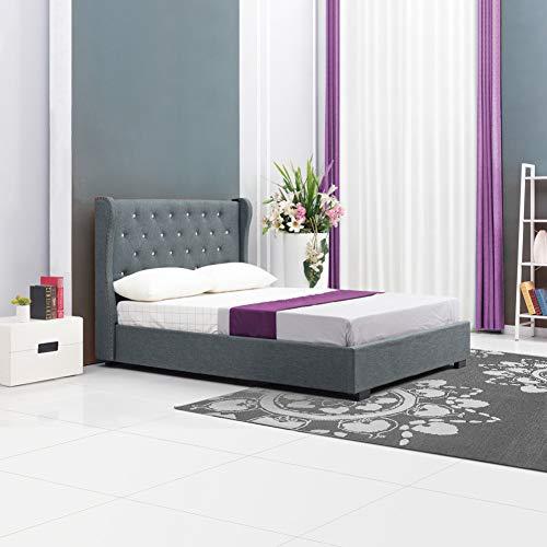 OFCASA Polsterbett Graues Stoffholzbett mit Diamantschnalle 140x200cm Doppelbett Lattenrost mit Holzlatten für Erwachsene/Kinder Juniorbett Schlafzimmer Wohnmöbel -