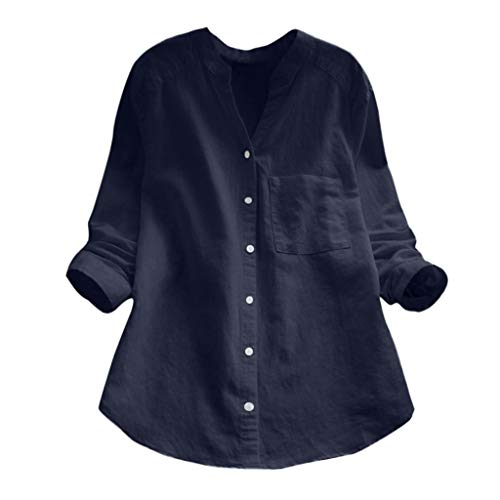 LUGOW Langarmshirts Damen Tops Damenmode Einfarbig Bluse Shirt Blusen Lose T Shirt Pullover Tuniken Sweatshirt Button-Down-Oberteile Tops T-Shirt(XX-Large,Blau) -