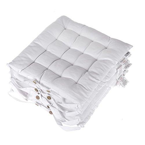 Homescapes Stuhlkissen 40x40 cm 4er Set weiß Stuhlauflage mit Bändern und Knopfverschluss Bezug 100{96859dbf9779a0bd8087f6a7993783fb2ad9c097d543a60dd2279d865da44adf} Baumwolle mit Polyester Füllung
