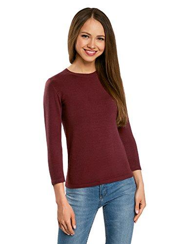 oodji Ultra Damen Pullover Basic mit 3/4-Ärmeln, Rot, DE 34 / EU 36 / XS -