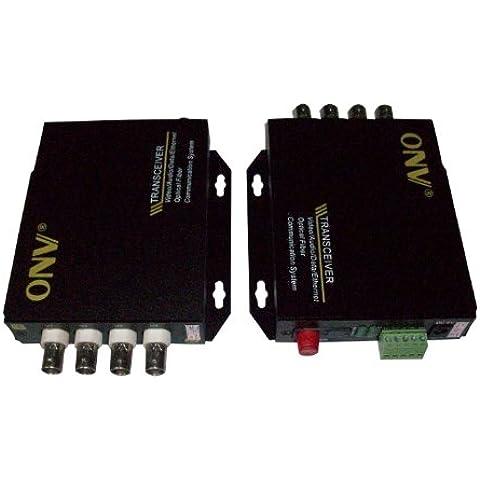 Ottica fibra ottica transceiver 4CH Video trasmettitore ricevitore Extender 1Reverse