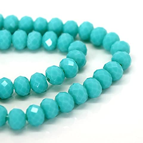 FACETED RONDELLE CRYSTAL GLASS BEADS PICK OPAQUE COLOUR & SIZE - BY STAR BEADS (Opaque Light Turquoise, 6x4mm