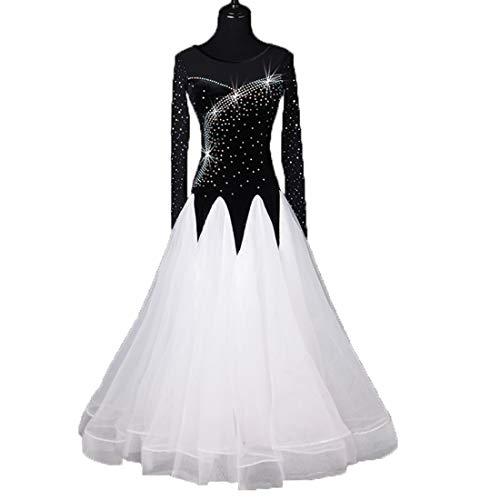 Frau National Standard Ballsaal Tanzen Kleid Wettbewerb Tanzen Kostüm Strass Lange Ärmel Modern Walzer Tanzen Tango Tanzen Performance Kostüm Großartig ()