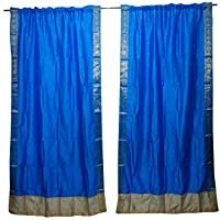 Mogul Interior 2 Indian Sari Curtain Drape Blue Window Treatment Boho Home Decor 84x44