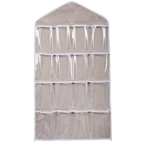 Fliyeong 16 Taschen klar hängende Tasche Socken BH Unterwäsche Rack Kleiderbügel Speicherorganisator transparent 16 Kleiderschrank Aufbewahrungstasche beige hohe Qualität