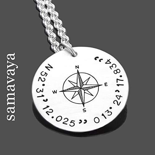 Herren Kette mit Koordinaten GPS Silberkette mit Kompass Männerkette mit Gravur, personalisiert