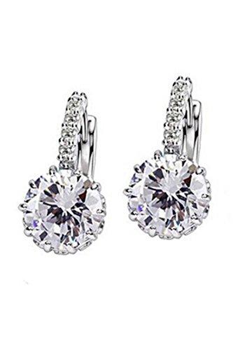 Pendientes - TOOGOO(R)Mujer Encantador Joya de oreja Pendientes de Huggie de diamante de imitacion de circon grande Maravilloso regalo - Transparente