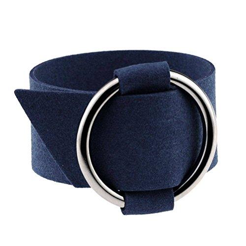 YiyiLai Fashion Damen Breite Armkette 25cm Länge/3.2cm Breite Armbänder Wickelarmbänder Armreifen Dunkelblau
