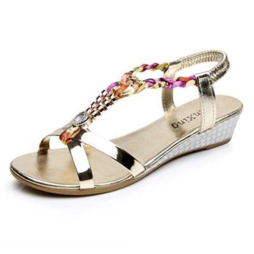 UFACE Heißer Verkauf Ultra Low Spezielle Perlen Sandalen Flache Sandalen für Damenmode Casual Sandalen Strandschuhe (38, Schmuck Gold)