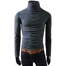 Camiseta de Hombre Top de Manga Larga Calentar Cuello Alto Blusa Mezcla De Algodón Ropa Interior