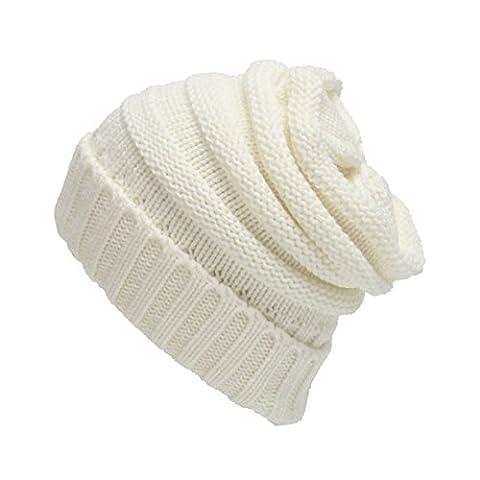 Chaud Chapeau Bonnet la Laine - iParaAiluRy Unisexe Adulte Hiver Tricoté Chapeau pour Homme Femme (Letto Viso)