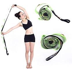 Kottle 10 Fijo trabillas antideslizante durable correa para Yoga (algodón, Escape - Correa de estiramientos para Flexibilidad y terapia ejercicios de fitness, verde